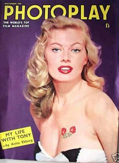 Anita Ekberg on the cover of Photoplay magazine, November 1956, UK.