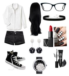 Nerdy Date by thefateofadreamer on Polyvore featuring polyvore, fashion, style, Lacoste, Converse, Chanel, Oscar de la Renta, 2028, NARS Cosmetics and clothing