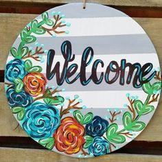 Wooden Door Hangers, Wooden Doors, Wooden Signs, Homemade Crafts, Diy Crafts, Wood Crafts, Fall Craft Fairs, Hospital Door Hangers, Painted Gourds