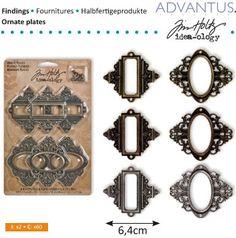Embellishments / Verzierungen Rahmen und Verschlüsse, 6 Stück, antique