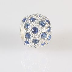 Pave ball with blue cubic zirconias ~ Carlo Biagi charm bead - Be Charmed Jewellery £17.50