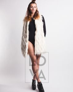 Long Faux Fur Vest Ava in Cream Swan. Vegan Fashion, Faux Fur Vests, Single Piece, Outfit, Swan, Fur Coat, Cream, Fur, Leather Jackets