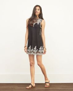 Sheer Embroidered Shift Dress