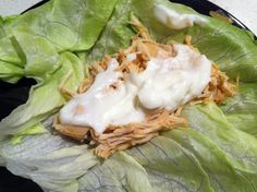 Buffalo Chicken Lettuce Wraps - SLOW COOKER.... I love my slow cooker.. here's a great recipe for Buffalo Chicken Wraps.. I used lettuce as a wrap to cut calories and carbs...