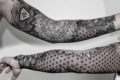 """18 Incredibly Intricate Geometric Tattoos - """"I have clients from all over the world; Australia, Africa, America, South America, and the Middl - Geometric Sleeve Tattoo, Full Sleeve Tattoos, Geometric Tattoo Filler, Geometric Tattoo Pattern, Tattoo Sleeve Filler, Tattoos Bein, Body Art Tattoos, Tatoos, Ink Tattoos"""