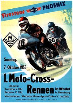 1956 German Motorcycle Race   Moto-Cross-Rennen   DMV Wedel Hamburg Germany   International Grand Prix Motorcycle Racing   Classic Retro Vintage Race Sticker, Program, Poster