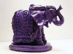 bohemian elephant figurine  //  purple home decor  //  upcycled ceramics  //  india pop art, modern sculpture, elephants