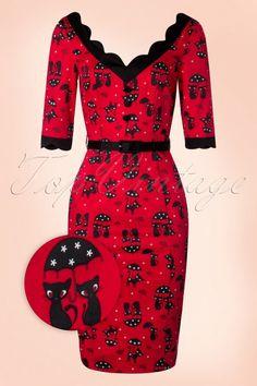 Vixen - 50s Jade Cat Pencil Dress in Red