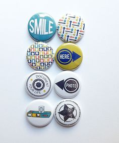 Items similar to Today Flair Pin Badges / Buttons by Sarah Hurley - Arrows, Geotag, Ribbon - scrapbooking / project life / journal / smash on Etsy Life Journal, Group Art, Button Badge, Custom Buttons, Button Crafts, Life Photo, Pin Badges, Arrows, Cameras