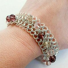 """New Crystal Chain maille Bracelet I create and design one of a kind jewelry - Soulful-lee Yours. This is a chain maile bracelet with crystals attached.  It has a lobster claw closure and measures 7.5 """" in length. Soulful-lee Yours Handmade Jewelry Jewelry Bracelets"""