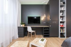 Pracovný kútik s TV Corner Desk, Flat Screen, Tv, Interior, Inspiration, Furniture, Design, Home Decor, Corner Table
