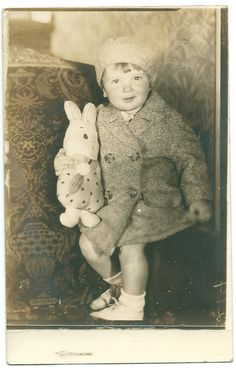 Boy with Homemade Bunny Toy 1932 Photo Postcard
