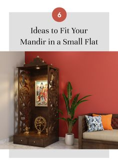 Want a beautiful Mandir in your small flat but have insufficient space? Check out these designs! Home Room Design, Pooja Rooms, Indian Home Decor, Temple Design For Home, Living Room Design Small Spaces, Room Door Design, India Home Decor, Home Interior Design, Pooja Room Door Design