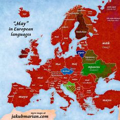 """""""May"""" in European Languages. maps map mapporn world geography information mapislife countries international continents languages spring month may culture European Languages, World Languages, Roman Calendar, United Nations Peacekeeping, Nebelung, Geography Map, The Last Summer, Latin Words, Historical Maps"""