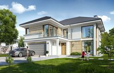 Riviera 5 is a house plan without a basement that has higher angled roof and the interior floor with a variants. Beautiful House Plans, Modern House Plans, Modern House Design, Beautiful Homes, Home Building Design, Building A House, Double Story House, House Outside Design, Luxury Homes Dream Houses
