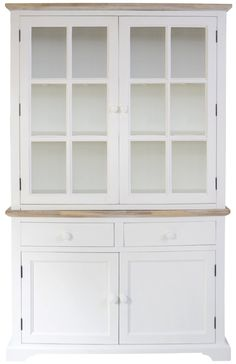 Florence Display Cabinet, Solidly built white glass dresser with 2 door bottom…