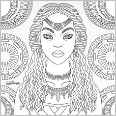 Tribal Queen coloring page | Color Therapy App