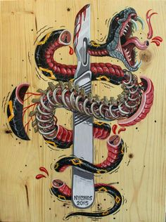 """""""Slice for Living"""" by NYCHOS , Acrylic on wood"""
