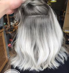 ♔ @enticemedear ♔ White Ombre Hair, Silver Blonde Hair, Blonde Ombre, Grey Ombre Hair Short, Ombre Hair Color, Short Silver Hair, Black Hair, Gray Hair, Dyed Hair