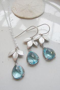 Silver Three Leaf Earring Necklace Set  Acquamarine by gardendiva, $48.00