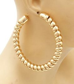 Gold Hoop Earrings Hoops Twisted Metal Spiral Hip Hop Hiphop