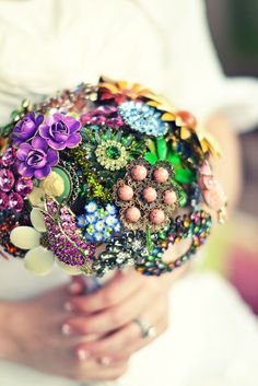 Wedding bouquet made entirely from vintage broaches.