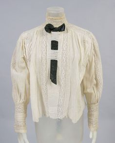 Woman's Blouse c. 1905 Ivory cotton with embroidery and tatted inserts Philadelphia Museum of Art