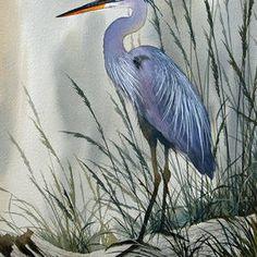 Herons Sheltered Retreat by James Williamson Canvas Art, Canvas Prints, Art Prints, Flying Bird Silhouette, Watercolor Paintings, Original Paintings, Blue Heron, Wire Art, Beach Art