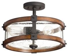 "14"" Distressed Wood Seeded Glass Semi-Flush Mount Ceiling Light Black Lighting"