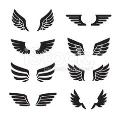 Wings black icons vector set. Minimalistic design. royalty-free stock vector art