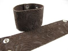 Chocolate Embossed Floral Suede Leather Cuff by springfieldleather