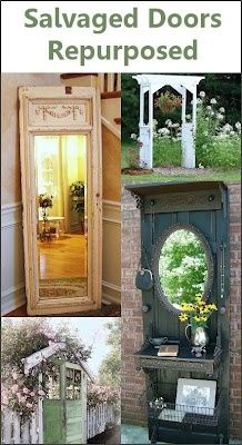 I NEED to find lots of old doors pronto! via Dishfunctional Designs: New Takes On Old Doors: Salvaged Doors Repurposed Salvaged Doors, Old Doors, Repurposed Doors, Wooden Doors, Front Doors, Entry Doors, Wooden Windows, Barn Doors, Furniture Makeover
