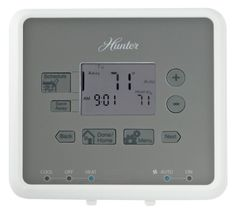 Buy Hunter 44132 5-Minute 5-2 Day Programmable Thermostat, White    Hunter 44132 is easy - universal compatibility means it works on most system types. And with Hunter's unique features - screwless, color coded wire terminals, built-in level bulb and all purpose screws - you can install this thermostat in 5 minutes - really. And Hunter's patent-pending programming interface means you can program it in 25-Percent fewer steps than other thermostats.