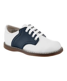 Take a look at this White & Navy Cheer Leather Oxford on zulily today!