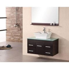 Design Element | Madrid 36 Inches Vanity in Espresso with Glass Vanity Top in Mint and Mirror (Faucet not included) | Home Depot Canada