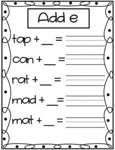 Long A Worksheets and Activities with Silent E {NO PREP!}