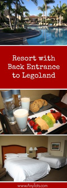 Hotel near Legoland California. It's so near that you can entrance through the back of Legoland. The resort offers 24hr. use of pool and spa.