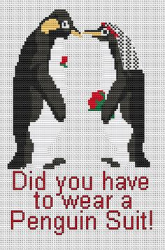 Cross Stitch Kit Penguin Suit Wedding Bride and by FredSpools, $5.00