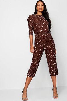 7db45bf54017 Mutton Sleeve Polka Dot Culotte Jumpsuit - boohoo