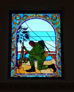 MCRD San Diego, CA Chapel stained glass    Bertram Goodhue designed the Marine Corps Recruit Depot in 1923. It is the western boot camp for the Marine Corps.