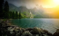 Download wallpapers mountain lake, fog, mountain slopes, forest, glacier, mountain landscape