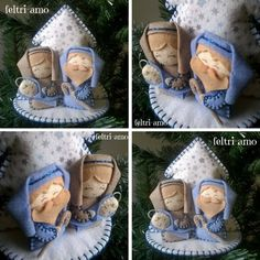 Felt Christmas Ornaments, Christmas Nativity, Christmas Fabric, Christmas Home, Christmas Holidays, Christmas Wreaths, Felt Crafts, Diy Crafts, Felt Toys