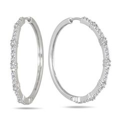 1 Carat Diamond Hoop Earrings In Sterling Silver