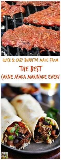 Looking for a quick and easy carne asada burrito (or taco) recipe? Try the Best Carne Asada Recipe Ever! It's so easy that you'll never bother with Mexican take out again for dinner or parties. Best Carne Asada Recipe, Marinade For Carne Asada, Carne Asada Recipes Easy, Steak Taco Marinade, Carne Asada Grilled, Steak Burrito Recipe, Steak Taco Seasoning, Carne Asada Tacos Recipe, Easy Mexican Recipes