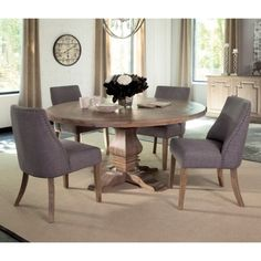 Donny Osmond Home Florence Round Table and Grey Upholstered Chair Set - Coaster Fine Furniture