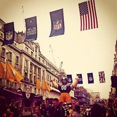 PITTSBURGH STEELERS~Bringing Stateside fun to Regent Street.... NFL hits London Round Two for the Steelers Vs Vikings! #NFL #London #Tailgate #RegentStreet #Steelers Pumped for tomorrow!!  - @jessie_reddin