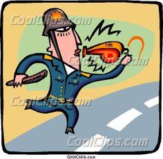 El  poli tenia el silbato en los labios y estaba desfundando su pistola.