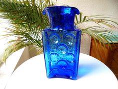 "Blenko 9"" Cobalt Blue Water Bottle Double Spout Signed Retired Pattern"