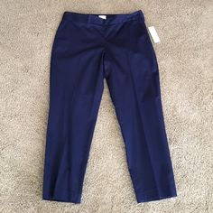 Laundry Blue ankle pants Ankle pants by Laundry. Been in my closet on a hanger so they have hanger marks, as pictured. Side zip for comfort and fashion. Brand new with tags. Navy blue. Laundry by Shelli Segal Pants Ankle & Cropped