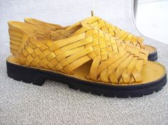 Brand X Huaraches Pachuco Yellow Leather Sandal Sz 9.5 Made in Mexico COMFY   BrandX   831cf1f85d785